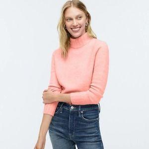 J Crew Neon Pink Soft Yarn Mock Neck Sweater Sz M